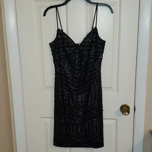 Express Sequenced Black Dress